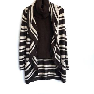 BROWN & CREAM STRIPE CASCADING OPEN FRONT CARDIGAN